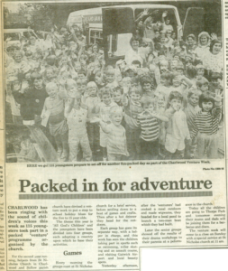A news clipping, including group photo, of the second venture week ever run!