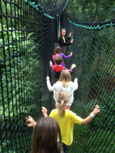 Group E crossing the Rope Bridge.